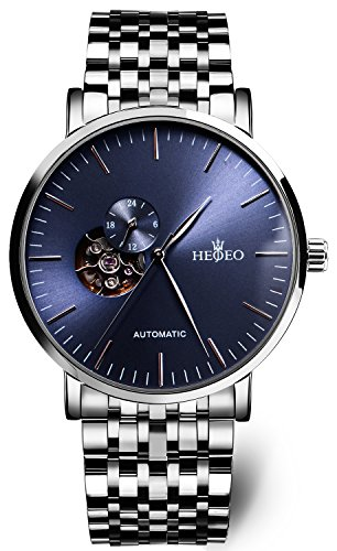 HEOJEO Watches for Men Mechanical Automatic Men's Watch Fashion Wrist Watches HG1215D Blue Dial (Dial Jewelry Blue)