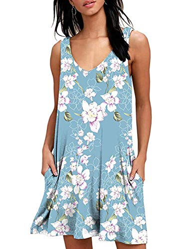 Back Sundress - Women's Summer Casual Sleeveless Floral Printed Swing Dress Sundress with Pockets Floral Light Blue M