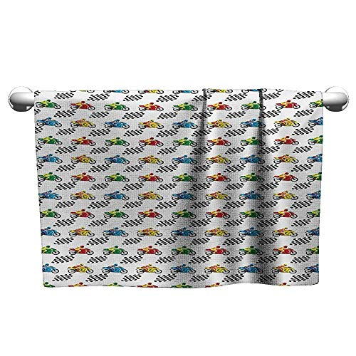 (alisoso Motorcycle,Sport Towels Sports Bike with Racing Riders Among Black and White Chequered Flags Competition Absorbent and Super Soft Towels Multicolor W 35
