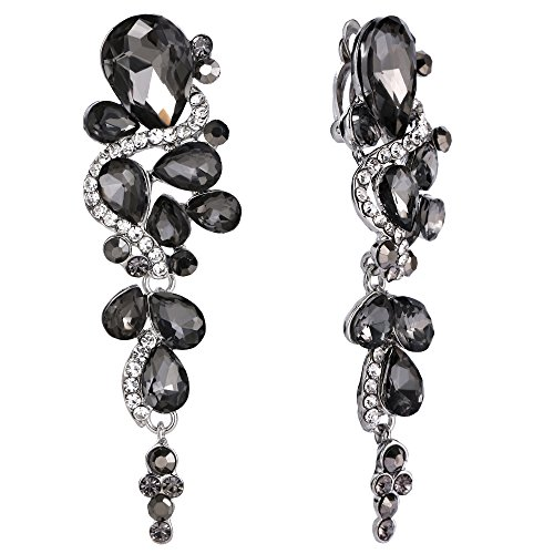 BriLove Wedding Bridal Clip On Earrings for Women Bohemian Boho Crystal Multiple Teardrop Chandelier Dangle Earrings Grey Black Silver-Tone ()