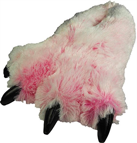 Bunnies Fluffy Pink (NORTY - Adults Big Foot Fuzzy Bear Claw Slippers, Pink 39431-Medium)