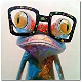 Muzagroo Art Oil Painting Modern Art Happy Frog Painted By Hand on Canvas Stretched Ready to Hang Wall Art(24x24in)
