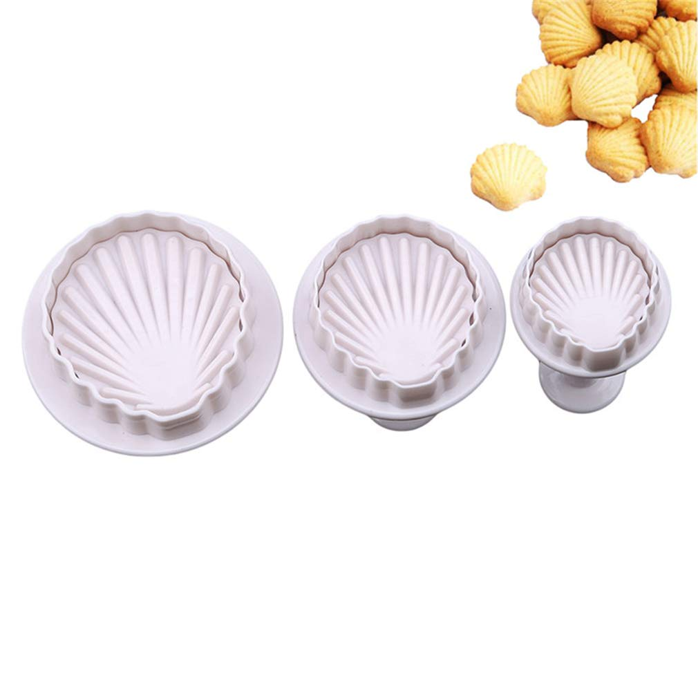 LnLyin 3 PCS Seashell Fondant Moule G/âteau Cookies Fondant Moule Savon Cuisson Bonbons Moules