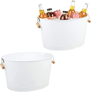mDesign Metal Beverage Tub & Soda Pop, Beer, Wine, Ice Holder - Portable Party Drink Chiller - 18 Liter Container - Vintage Farmhouse Oval Storage Bucket, 2 Pack - White/Natural Bamboo Wood Handles