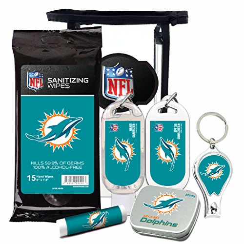 Miami Dolphins Gifts 6-Piece Fan Kit with Decorative Mint Tin, Nail Clippers, Hand Sanitizer, SPF 15 Lip Balm, SPF 30 Sunscreen, Sanitizer Wipes. NFL Football Gifts for Men and Women (Christmas Stocking Dolphins Miami)