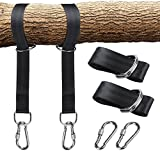 LHIABNN Portable Tree Swing Hanging Straps Kit,5ft Straps with Safer Lock Snap Carabiner Hooks Hangers Carry Pouch Perfect for Tree Swing &Tire Swing& Hammocks Outdoor (5 ft/Black)