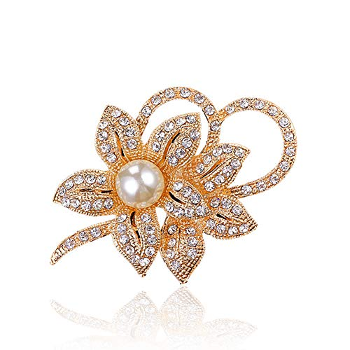 - Chili Jewelry Gold Plated Vintage Fancy Orchid Brooch for Women Classy Flower Brooch Pin with Shiny Created Crystal