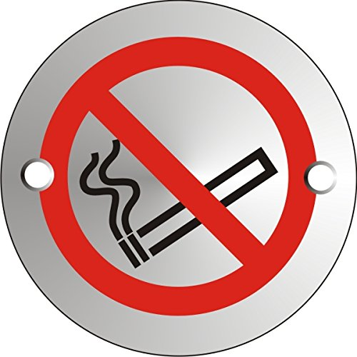 No Smoking Logo - Stewart Superior Circular Convex No Smoking Logo Sign Satin Anodised Aluminium 72mm Diameter