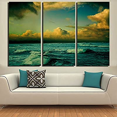 Link Line Fallout 3Panels Sky Clouds Sea Home Decorative Modern Art Paintings Living Room Canvas Painting Oil Wall Painting Picture