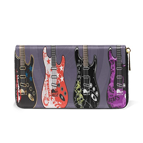 Guitars And Retro Wallet Womens TIZORAX Purses Clutch Organizer Electric Zip Art Handbags Around EnqwSSTFO4