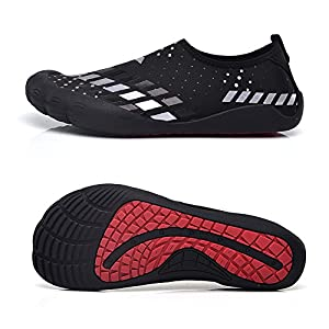 Water Shoes for Men Quick-Dry Aqua Sock Outdoor Athletic Sport Shoes for Kayaking,Boating,Hiking,Surfing,Walking (Size 7.5, Silver)