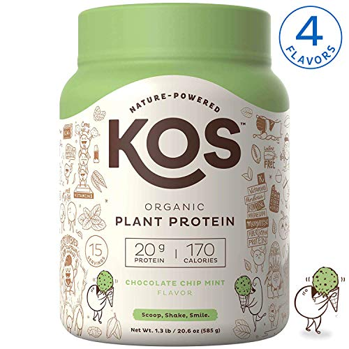 KOS Organic Plant Based Protein Powder – Raw Organic Vegan Protein Blend, 1.3 Pound, 15 Servings (Chocolate Chip Mint)