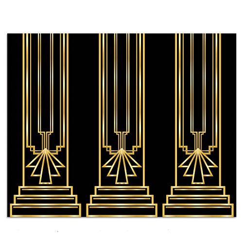 (4 ft. x 30 ft. Art Deco GREAT GATSBY 20s COLUMN BACKDROP Party Decoration PHOTO PROP)