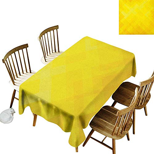 kangkaishi Oil-Resistant and Durable Long Tablecloth Kitchen Available Contemporary Art Inspirations in Yellow Toned Geometrical Rhombus Arrangement W14 x L108 Inch Yellow Marigold