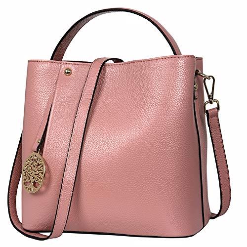 (Iswee Women's Leather Purse Top Handle Handbag Crossbody Shoulder Bag Satchel Tote Bag for Girls And Ladies (Pink))