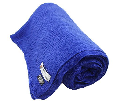 Himalayan Cashmere Throw, Royal Blue, Natural Cashmere Blanket 54'' x 108'',Hand Made in Nepal