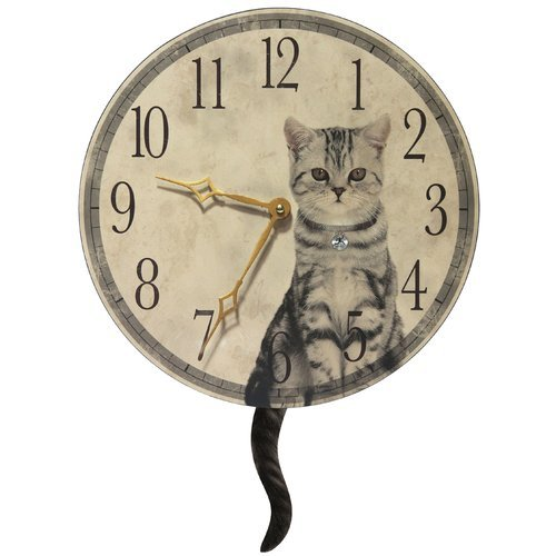 OKSLO Red Barrel Studio Round Cat Purrfect Timing Clock