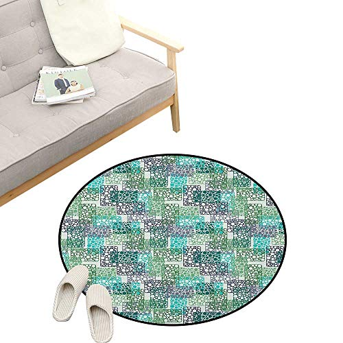 Abstract Round Rug ,Dots Bubbles Circular Rings in Colors Contemporary Style, Flannel Microfiber Non-Slip Soft Absorbent 39