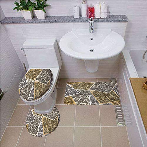 iPrint Bath mat Set Round-Shaped Toilet Mat Area Rug Toilet Lid Covers 3PCS,Old Newspaper Decor,Pages of Old Journals Magazines Columns Information Print Decorative,Light Brown White Black,Pattern