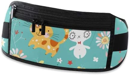 Texture Cat Rabbit Running Lumbar Pack For Travel Outdoor Sports Walking Travel Waist Pack,travel Pocket With Adjustable Belt