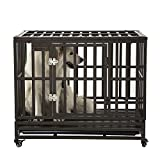 """SMONTER 38"""" Heavy Duty Strong Metal Dog Cage Pet Kennel Crate Playpen with Wheels, I Shape, Brown …"""