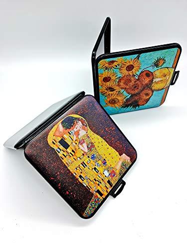 CAJA FUNDA MASCARILLA DISEÑO - Pack de 2 Estuches Diseno, Decoradas famosos Cuadros El beso yLos Girasoles Caja almacenaje