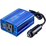 Bapdas 150W Car Power Inverter DC 12V to 110V AC Car Converter with 3.1A Dual USB Car Adapter-Blue