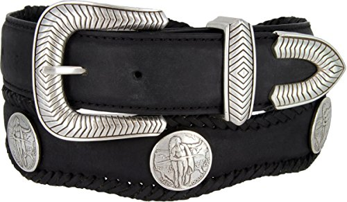 American Indian Coin Conchos Western Leather Scalloped Belt Black 40