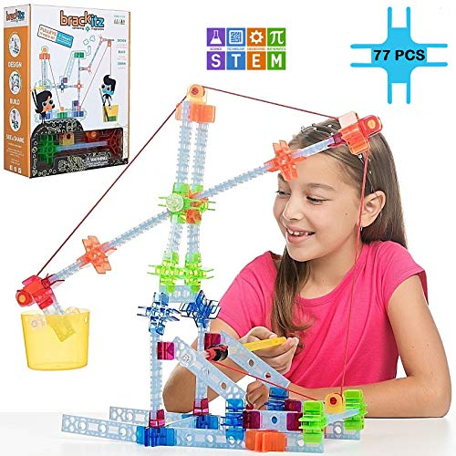 Brackitz Pulley Set for Kids | Building Toy for Boys and Girls Ages 4, 5, 6, 7 Years Old | STEM Discovery Learning Kit | Best Children Educational Construction Toys | 77 Pc Set
