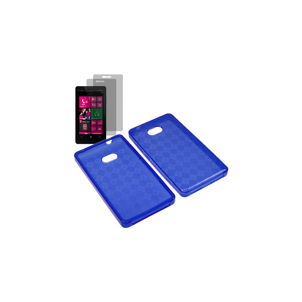 Aimo TPU Sleeve Gel Cover Skin Case for T mobile Nokia Lumia 810 + 2 Fitted Screen Protector  Blue Checker Cell Phones & Accessories