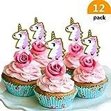 (Set of 12) JeVenis Glitter Pink Gold Unicorn Cake Topper Unicorn Cupcake Topper Picks Party Decor Baby Shower Cake Topper