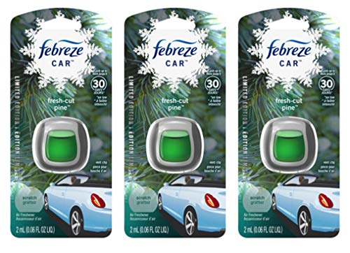 Febreze Car Vent Clip Air Freshener - Fresh-Cut Pine - Holiday Collection 2017 - Net Wt. 0.06 FL OZ (2 mL) Per Vent Clip - Pack of 3 Vent Clips