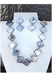 Mother of Pearl Beaded Necklace & Matching Earrings Many Colours UK Seller Gift