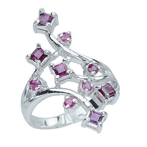 Decorative Natural Rare African Red Ruby 925 Sterling Silver Gemstone Ring ()