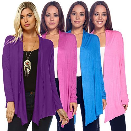 Isaac Liev 4-Pack Women's Open Front Lightweight Casual Flyaway Cardigan (Pink, Purple, Orchid & Light Blue, Medium) ()