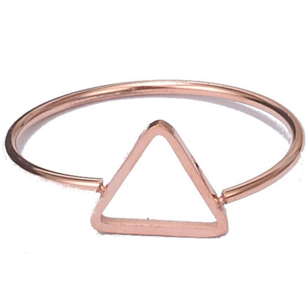 Jude Jewelers Stainless Steel Rose Gold Triangle Karma Statement Promise Kunckle Pinky Ring