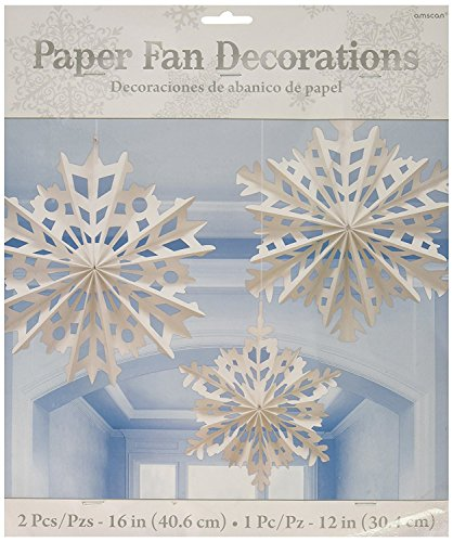 Amscan Winter Wonderland Christmas Snowflake Paper Fan Hanging Party Decoration (6 Piece), White, One - Snowflake Paper Ornaments