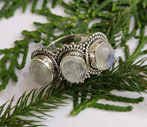 925 STERLING SILVER BLUE FIRE RAINBOW MOONSTONE JEWELRY SOLITAIRE CHRISTMAS RING