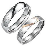 Flongo 2 Anillos Pareja, anillos de compromiso, Completa un corazón , enamorados Corazón 'Real Love', de acero inoxidable, Dorado Negro Plateado, para Día de los enamorados/Navidad