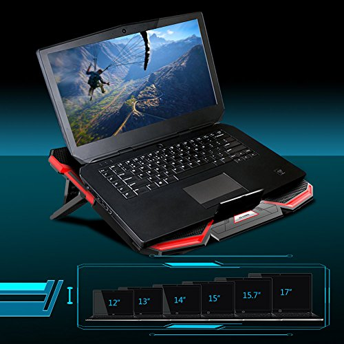 5 Fans Laptop Cooler, Portable Ultra-Slim Cooling Pad, with Red LED Light, Dual USB 2.0 Ports, Adjustable Mount Stand, Super Quiet and Strong Wind Speed Designed for Gamers and Office by Mkocean (Image #6)
