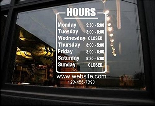 StickerLoaf Brand STORE HOURS CUSTOM WINDOW DECAL BUSINESS SHOP Storefront VINYL DOOR SIGN COMPANY Bakery Cafe restaurant studio salon garage by StickerLoaf.com