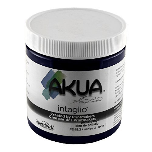 (Akua Intaglio Non-Toxic Water Based Ink, Phthalocyanine Blue, 8 Ounces)