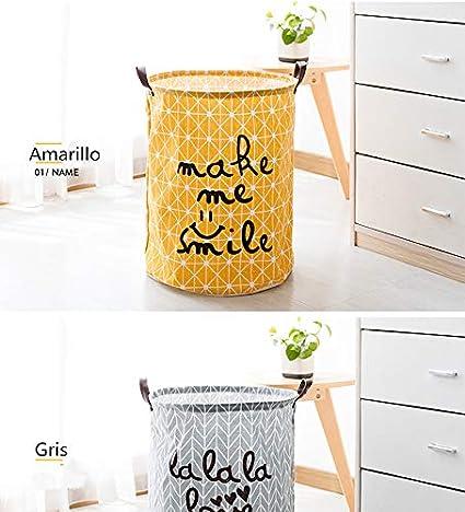 resistente giallo in lino e cotone borsa portaoggetti cesta per la biancheria Kanggest Contenitore pieghevole