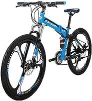 Eurobike G4 Mountain Bike 26 Inches 3 Spoke Wheel Dual Suspension Folding Bike 21 Speed MTB Bicycle Blue