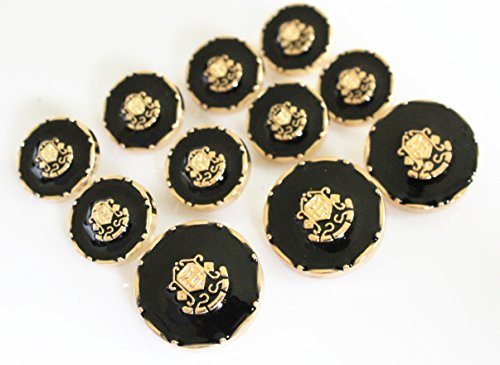YCEE 11 Piece Gold Metal and Black Blazer Button Set - Shield - For Blazer, Suits, Sport Coat, Uniform, Jacket