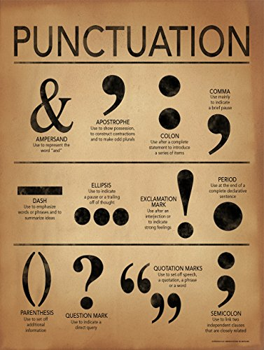 Punctuation Writing and Grammar Poster for Home, Office, Classroom or Library for $<!--$20.99-->