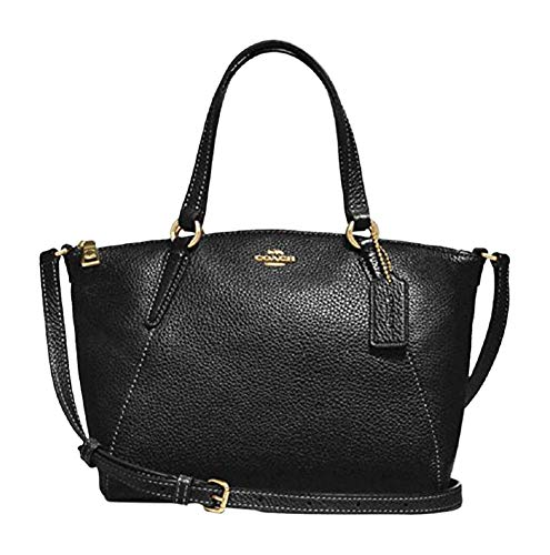 Coach Pebble Leather Mini Kelsey Satchel Crossbody Handbag F28994 Black/Imitation ()