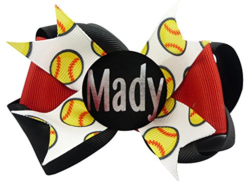 Match Pony (Match Team Colors Softball Personalized Hair Bow, Hairbow Clip or Ponytail Holder)