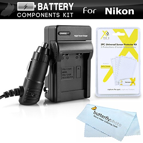 Battery Charger Kit for Nikon Df, D5500, D3400, D5100, D5200, D5300, D3300, D3100, D3200 Digital SLR Camera Includes Ac/Dc 110/220 Rapid Travel Charger for Nikon EN-EL14 Battery + Screen Protectors +