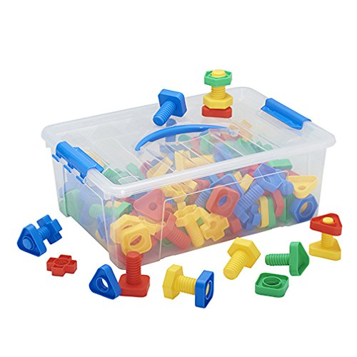 Math Tub - ECR4Kids Twist Lock Nuts & Bolts Math Manipulatives Building Kit, Educational Sensory Learning Toys for Children (64-Piece Set)